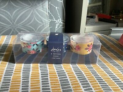 £5 • Buy JOULES SET OF 3 DECORATED GLASS VOTIVE CANDLE TEA LIGHT Holders
