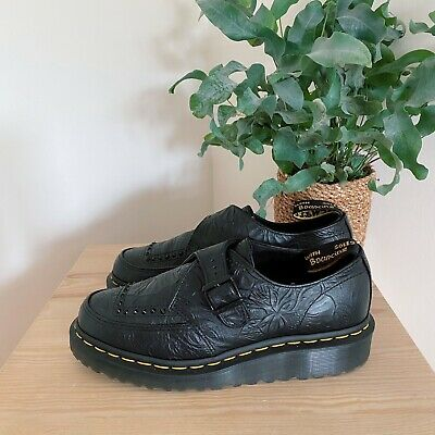 £65 • Buy Dr Martens Ramsey Black Floral Embossed Monk Creepers 6 39 Black Leather Shoes