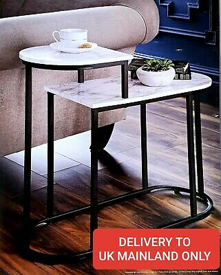 £39.80 • Buy 2 Tier Side Table With Black Metal Frame And Marble Effect Finish Tops!