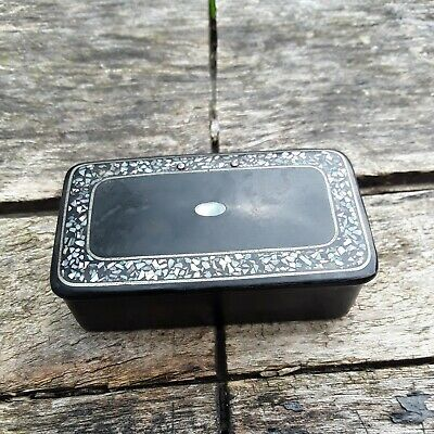£15 • Buy Antique Wooden Laquered Snuff Box With Mother Of Pearl Inlay