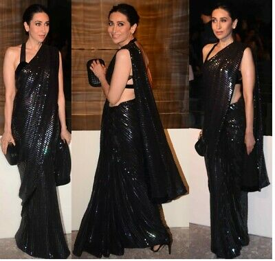 £27.99 • Buy Indian Bollywood Designer Sequin Sari Party Wear Sequence Embroidery Black Saree