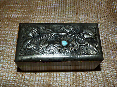 £80 • Buy Arts And Crafts Art Nouveau Box Turquoise Inset Cabochon Embossed Pressed Pewter