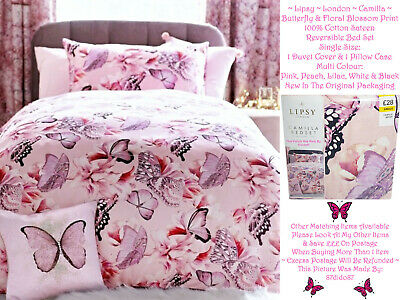 £23.99 • Buy 🦋 LIpsy London Camilla Butterfly Blossom Duvet Quilt Cover Pillow Case Bed Set
