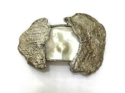 $48 • Buy Mid-Century Modern Sterling Silver LARGE Brutalist Mabe Blister Pearl Brooch 46g