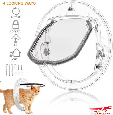 £13.99 • Buy 4-Way Clear Round Lockable Magnetic Large Cat Flap Pet Door Dog Tunnel Guard UK
