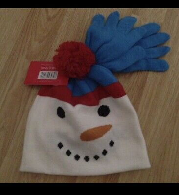 £2.99 • Buy Matching Snowman Hat And Gloves Set