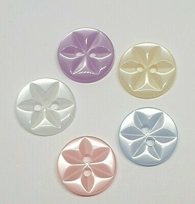 $2.75 • Buy Round Star Buttons 14mm Pink White Cream Blue Lilac For Baby Cardigans Ligne 22