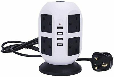 £14.99 • Buy 8 WAY SURGE Protection Tower Socket Extension Power Board Socket 3M Cable With 4