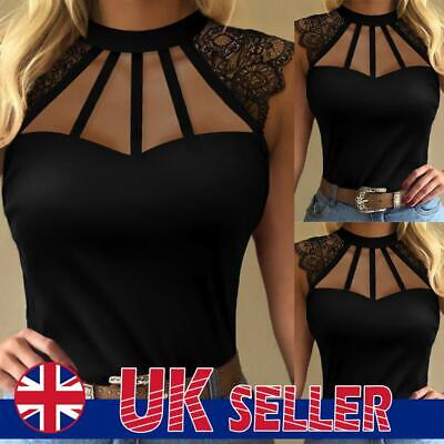 £6.09 • Buy Women's Hollow Out Halter Neck Tops Ladies Sexy Lace Tank Vest Casual T-Shirt UK