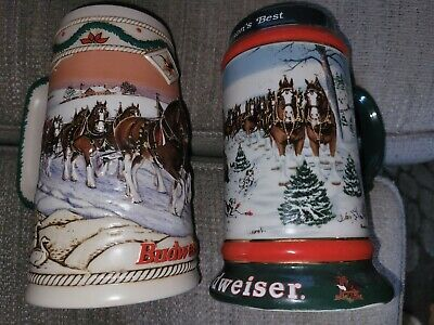 $ CDN46.58 • Buy Lot Of (2) Pre-Owned Budweiser Clydesdale Decorative Holiday Steins 1991 & 1996