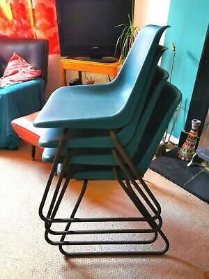 £125 • Buy 4x Set Of Vintage Stacking Chairs Robin Day For Hille MCM Teal