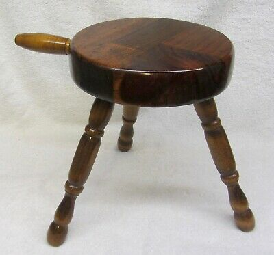 $35.95 • Buy Vintage Country Wooden 3 LEG FOOT STOOL W/ HANDLE Early American Wood Amish NICE