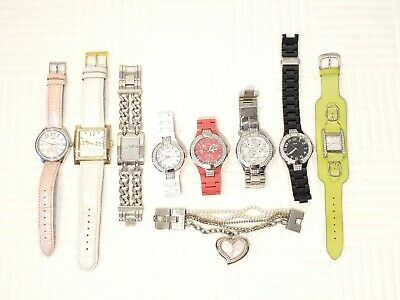 $ CDN1.22 • Buy Lot Of Nine Women's Guess Watches Crystals Silver Gold Tone Bracelets Leather