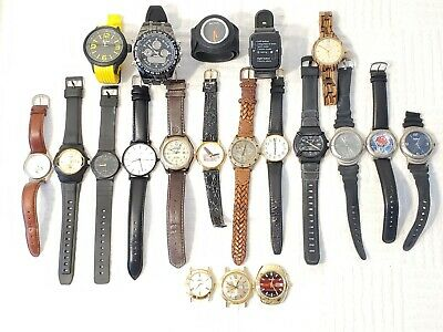 $ CDN1.56 • Buy Lot Of 18 Men's Quartz Watches Leather Resin Rubber Straps Gold Silver Tone