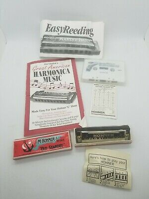 $20 • Buy Vintage Lot M. Hohner Old Standby No. 34B Harmonica G Instructional Tape Songs