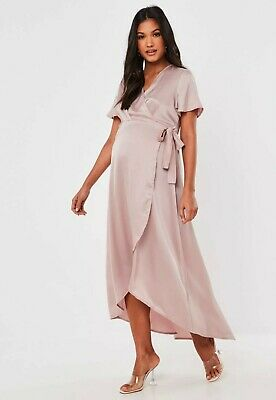 £13.99 • Buy Missguided Pink Satin Wrap High Low Maternity Maxi Dress Size UK 14 RRP £32