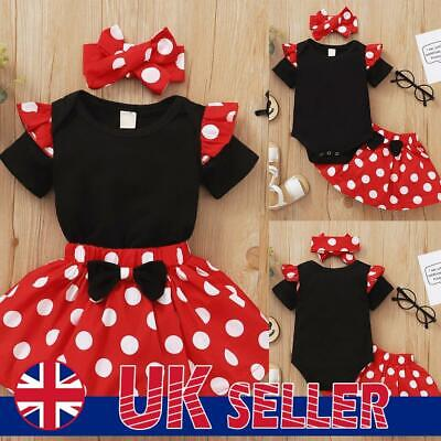 £6.19 • Buy Infant Baby Girls Newborn Clothes Polka Dot Casual Tops Skirt Headband Outfits
