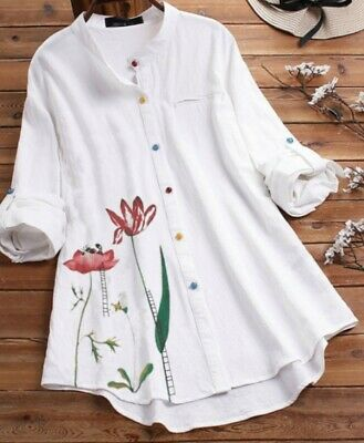 £10.69 • Buy UK Womens Cotton Linen Floral Tunic Blouse Ladies Baggy Long Sleeve T-Shirt Tops