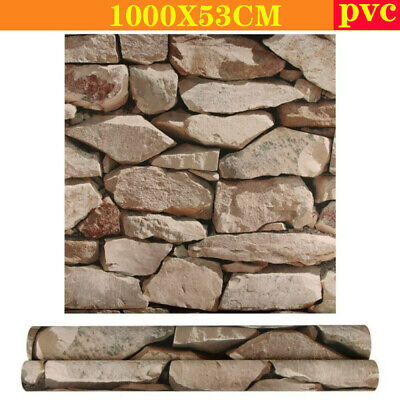 £11.68 • Buy Natural Brown Beige Stone Slate Tile Brick Wall Textured 3D Feature Wallpaper