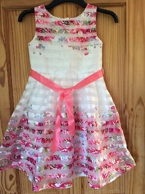 £26.99 • Buy Beautiful Monsoon Floral Pink & White Wedding Flower Girl Dress Age 10 New