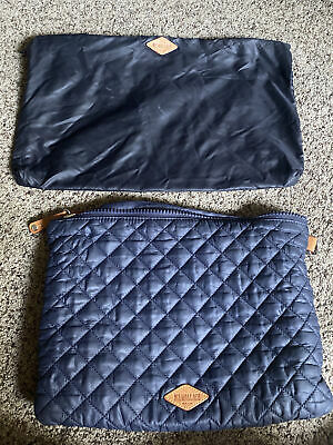 $25 • Buy Mz Wallace Quilted Metro Pouch And  Navy Nylon Pouch Lot
