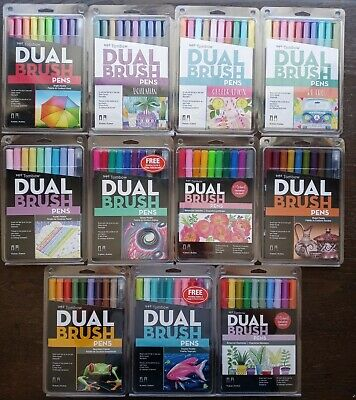 £14.18 • Buy Lot Of (11) TomBow Dual Brush Pens Art Markers 8/10pc Sets *new* Never Been Used