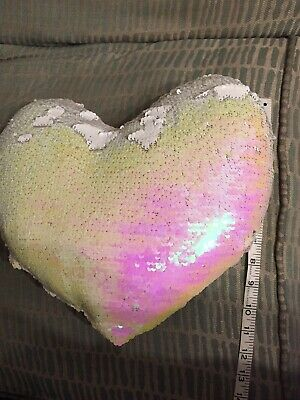 £1.50 • Buy Pink Love Heart Reversible Sequin Pillow/Cushion