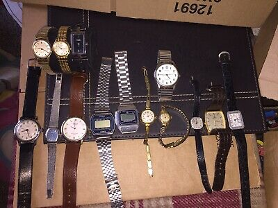 $ CDN17.17 • Buy Job Lot, Bundle  Of 14 Watches. Untested. Need Fixing Or Just Battery.