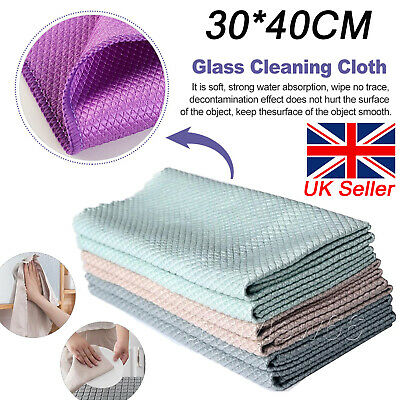 £5.10 • Buy 5X Large Microfibre Cleaning Cloth Fish Scale Car Kitchen Glass Bathroom Towels
