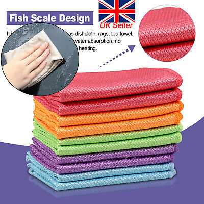 £5.10 • Buy 5/10PCS Microfibre Cleaning Cloths Fish Scale Polishing Car Kitchen Clean Towels