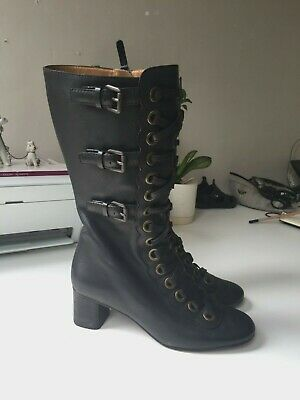 £4.20 • Buy Rare Chloe Leather Victorian Lace Up Heels Size 38
