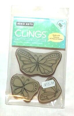 £0.99 • Buy Clings Butterfly X 3 Rubber Stamps - All Proceeds To MacMillan