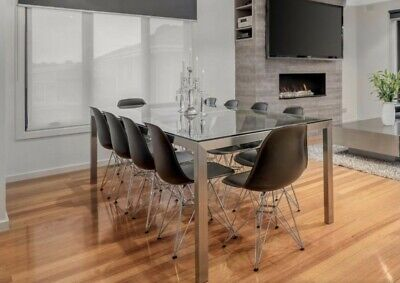 AU200 • Buy Glass And Stainless Steel Dining Table 10 Seater And 10 Dining Chairs