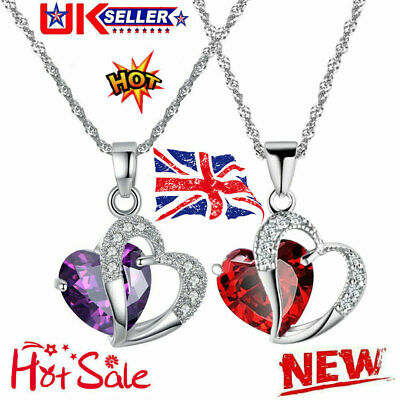 £2.42 • Buy Heart Crystal Pendant 925 Sterling Silver Chain Necklace Womens Ladies Jewellery