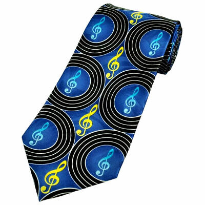 £12.99 • Buy THE TIE STUDIO - Clef In Circles Repeat Pattern On Blue, Music Men's Novelty Tie