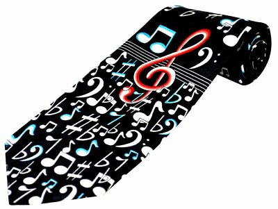 £12.99 • Buy THE TIE STUDIO - A Large Red Clef & White Notes Pattern On Black Men's Music Tie