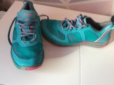 £10 • Buy Ladies. Torqoise And Peach Clarks. Wave Walk. Trainers  Size 6