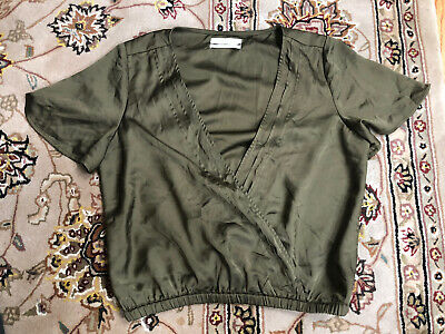AU5.33 • Buy Womens Medium Urban Outfitters Olive Green Wrap Front V Neckline SS Blouse Top