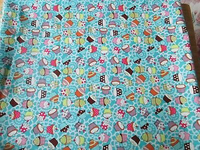 $13.81 • Buy New Craft Cotton Co Cotton Fabric X 1.5m - Turquoise With Small Cupcake Print