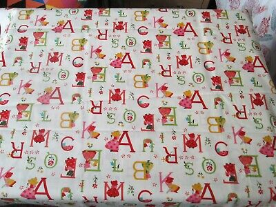 $8.28 • Buy New 1m Length Cotton Fabric -  Alphabet With Girl Pattern On Cream Background