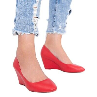 £20.05 • Buy Red Pumps On The Caffe Wedge Heel