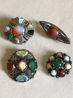 £10 • Buy Lot 4x Vintage Celtic, Scottish Style Faux Agate Stone Brooches Inc By Miracle