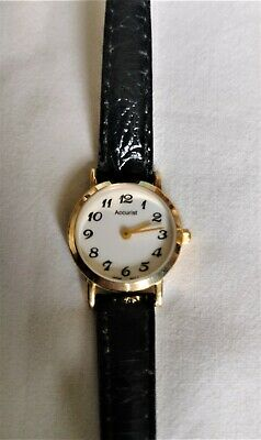 £19.99 • Buy Ladies 9 Carat Gold Accurist Watch With Black Leather Strap