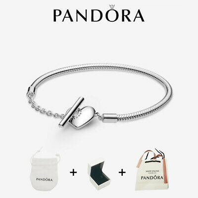 AU28.96 • Buy NEW PANDORA Moments 925 Heart T-Bar Snake Chain Bracelet 599285C00 With Gift Box