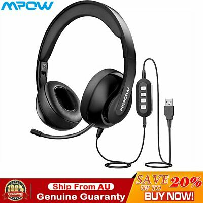 AU37.29 • Buy Mpow 224 3.5mm/USB Wired Headphones Foldable Microphone Gaming Business Headset