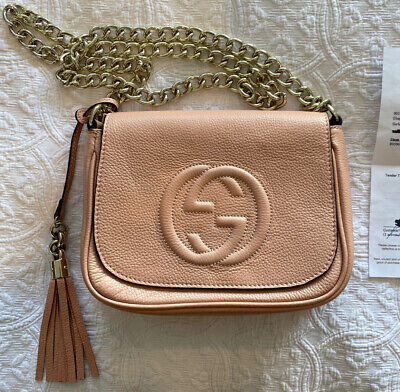 AU664.61 • Buy Gucci Soho Chain Strap Leather Bag With Receipt