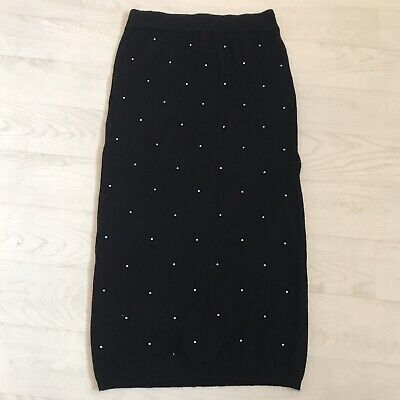 £3 • Buy Black Knitted Midi Skirt With Silver Pearl Detail XXS But Super Stretchy