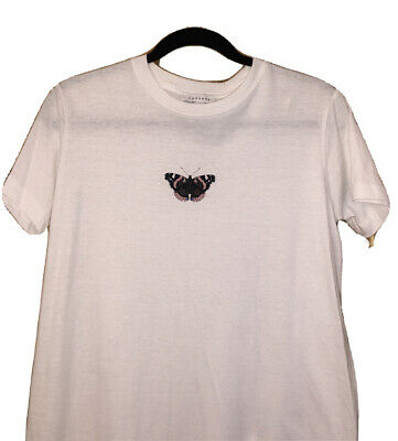 £3.75 • Buy White Short Sleeve Butterfly T-Shirt Size M