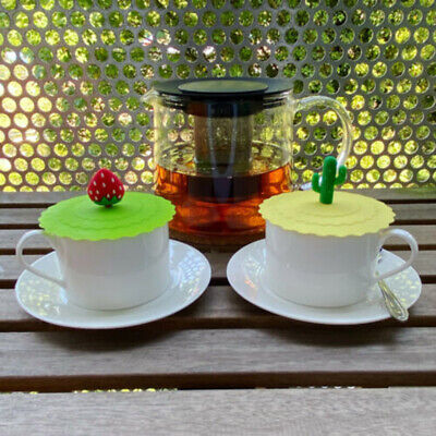 £3.39 • Buy 2X Silicone Cup Cute Glass Drink Cover Anti-dust Coffee Mug Suction Seal Lid HdZ