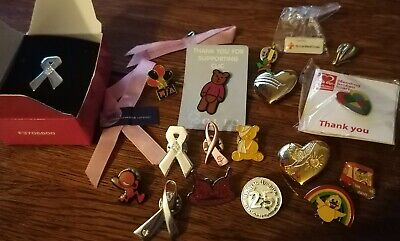 £4.20 • Buy Joblot Of 20 British Charity Pin Badges Bundle - Breast Cancer, Pudsey BHF Etc